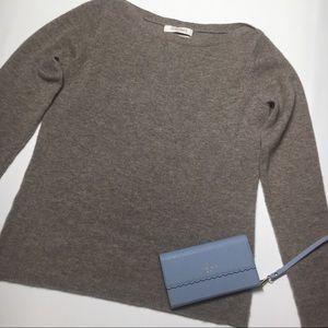 Ellen Tracy Cashmere Brown Boat Neck Sweater, sz S
